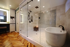 Full-Shower-Enclosure-Bathtub-&-Hardwood-Floors